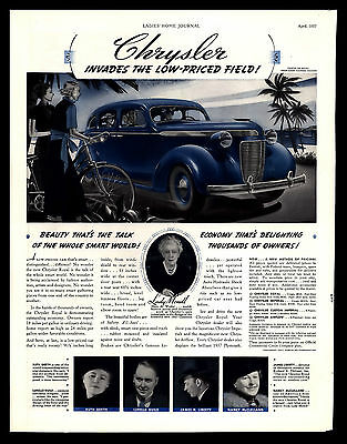 """ORIGINAL 1937 CHRYSLER """"INVADES THE LOW-PRICED FIELD"""" AUTOMOBILE PRINT AD"""