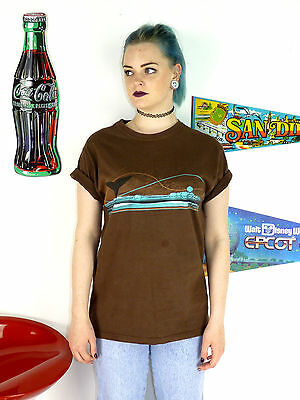 Womens Vintage 90's Brown Seaworld Florida Killer Whale Crew Neck T-Shirt 8 10