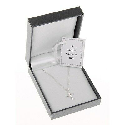 Equilibrium Silver Plated Necklace Diamante Cross  Christening Childs  6781