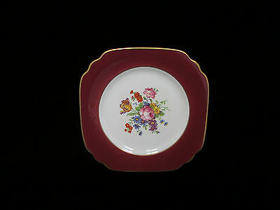 Old Ivory Syracuse Square Flowered Plate Maroon Ruby Red Gold - GORGEOUS