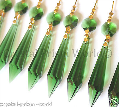 10 LARGE GREEN GLASS CHANDELIER CRYSTAL PRISMS PENDANTS WEDDING SILVER BOW TIES