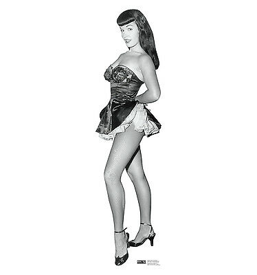 BETTIE PAGE in Fishnet Nylons Lifesize CARDBOARD CUTOUT Standup Standee Betty