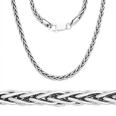 1.2mm 925 Italy Sterling Silver Wheat Spiga Rope Link Chain Necklace Solid NEW
