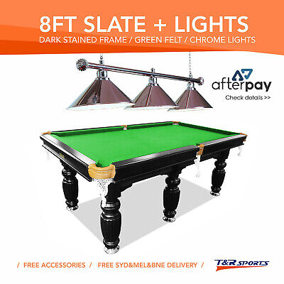 New 8Ft Luxury Green Slate Pool/billards/snooker Table With Chrome Metal Light