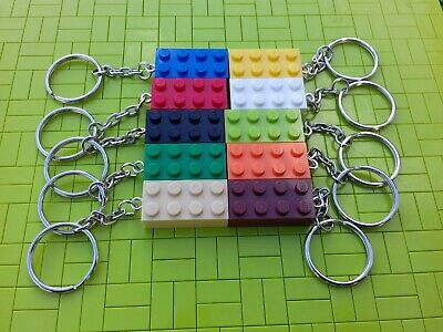 10 x NEW ASSORTED LEGO BRICK KEYRINGS KIDS PARTY BAG STOCKING FILLERS FAVOURS -