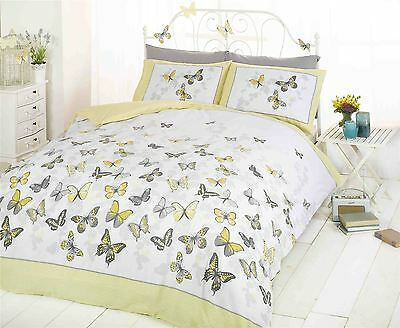 Flutter Butterfly Butterflies Teenager Bedding Reversible Duvet Cover Set Yellow