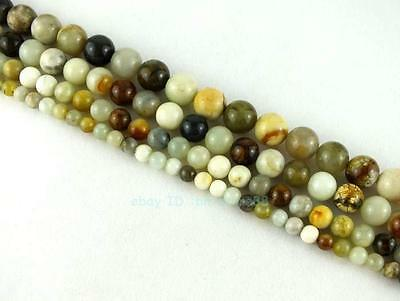6、8、10、12mm Natural Flower Jade Round loose Beads 15""
