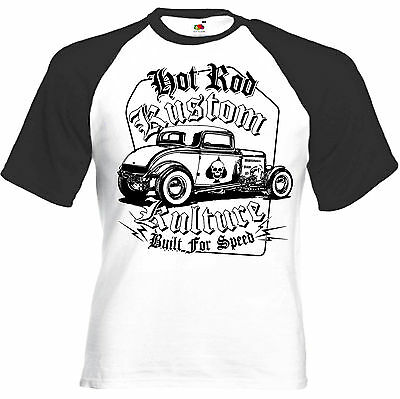 T-Shirt manches longues BORN TO RACE Racing Custom Motorcycle Hot Rod V8 Greaser