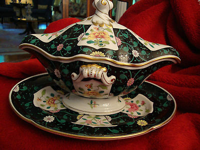 Herend Large Size Gravy Boat and matching Undertray Set Black Dynasty SN