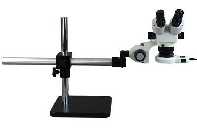 Boom Stand 10X-80X Stereo Zoom Microscope with 54 LED Ring Light
