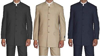 Men's Mandarin Collar Pin Stripe Church Suit  Style 925H
