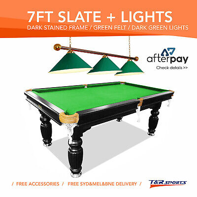 New! 7Ft Luxury Green Slate Pool/billards/snooker Table With Green Metal Light