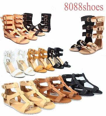 Women's  Multi Buckle High Shaft Wedge Gladiator Flat Sandal Shoes Size 6-11 NEW