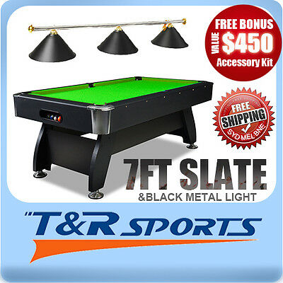 New! 7Ft Green 1-Piece Slate Pool/snooker/billiard Table With Black Metal Light