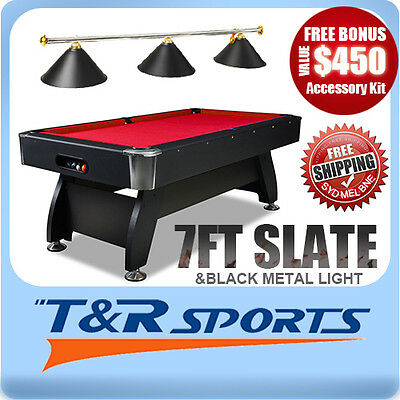 New! 7Ft Red 1-Piece Slate Pool/snooker/billiard Table With Black Metal Light