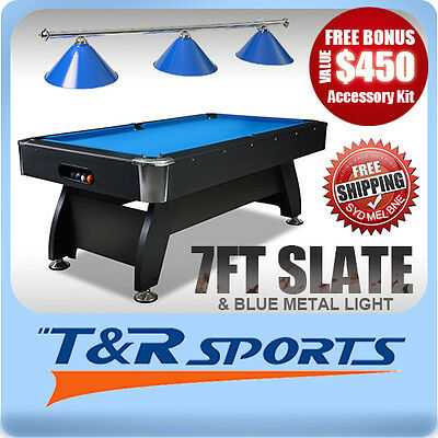 New! 7Ft 1-Piece Blue Slate Pool/snooker/billiard Table With Blue Metal Light