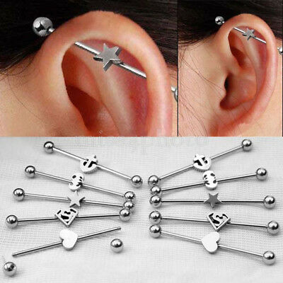 10Pcs Mix Ear Cartilage Long Barbell Earring Stainless Steel Industrial Piercing