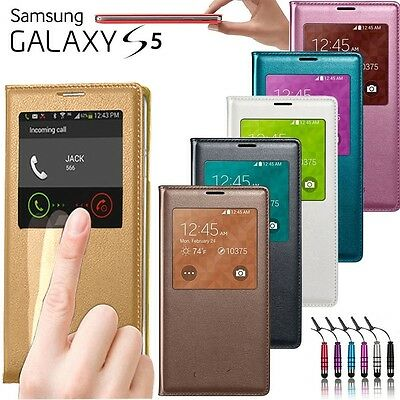 Etui Coque Housse Flip Cover S-View Samsung Galaxy S5 + Film + Stylet
