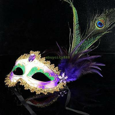 Elegant Lady Peacock Purple Feather Crystal Masquerade Party Eye Half Face Mask