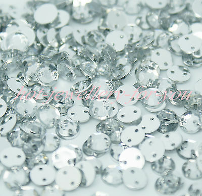 Rhinestone Crystal Sewing Diamante Gem Acrylic Silver Flatback 2 Holes sew on