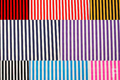 12 mm STRIPES ON PRINTED POLY COTTON FABRIC  - WIDTH 114 CM