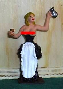 HAND PAINTED METAL 17th CENTRY NUDE TAVERN WENCH HOLDING DRINK 54MM