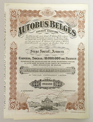 1920s Autobus Belges Bond (Belgian) - Signed with coupons