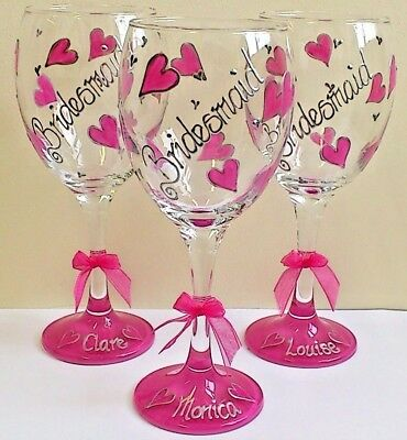Personalised Bridesmaid Wine Glass Hand Painted Wedding Favour Bride Groom Mum