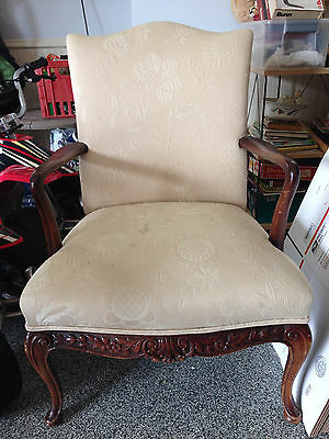 "Antique Karpen Fireside Carved Mahogany Chair 37"" x 26"" x 26"" Labeled Circa 1900"