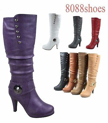 faac561a78e2 Women's High Heel Round Toe Platform Zip Knee Mid Calf High Boots Size 5 -10