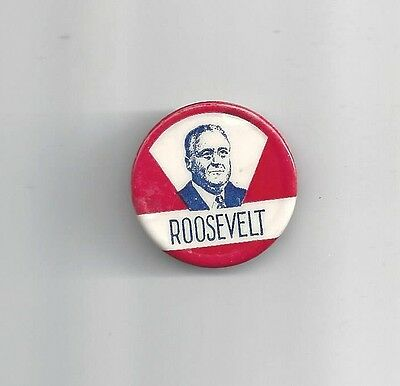 1936 FDR ROOSEVELT r/w/b DRAWING IMAGE CAMPAIGN BUTTON
