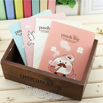 """Tiny Peach Dog"" Pack of 4 Mini Pocket Diary Study Notebook Little Cute Planner"