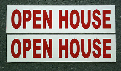 (2) OPEN HOUSE  6 x 24 Real Estate Sign Riders 2 sided Outdoor NEW FREE SHIP