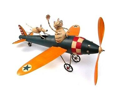 Aviator Cat & Mouse Kinetic Whirligig Sculpture