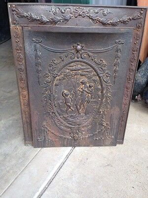 Figural Cast-Iron Fire Front With Frame Lady And Two Cherubs F 14