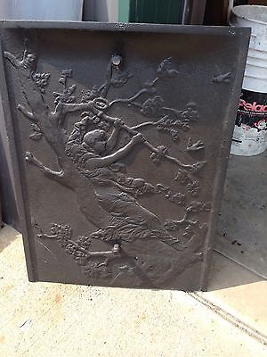 Antique Cast-Iron Fire From Summer Cover Lady In A Tree F6