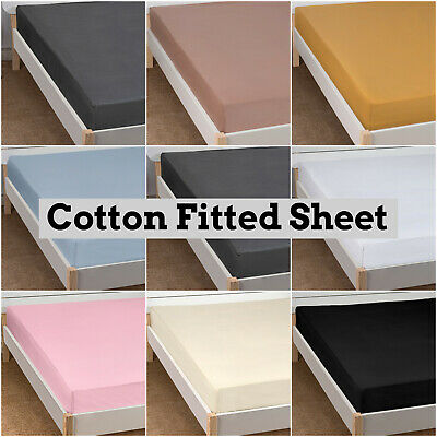 Love2Sleep 5* Hotel Quality Plain Egyptian Cotton Fitted Sheet - All Colours