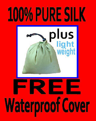 100% PURE SILK Sleeping Bag Liner & WATERPROOF COVER- Jungle green for traveling