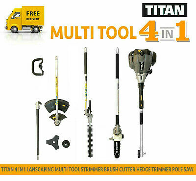 TITAN TTK587GDO 4in1 Multi Tool Strimmer Brush Cutter Hedge Trimmer Pole Saw
