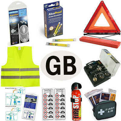 Legal Euro European Travel Kit Items For Driving French Breathalysers GB Plate