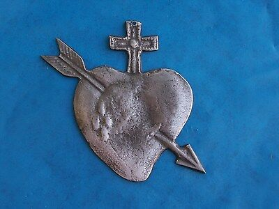 Tin/Silver Sacred Heart Immaculate Heart with Arrow and Cross Milagro Ex Voto