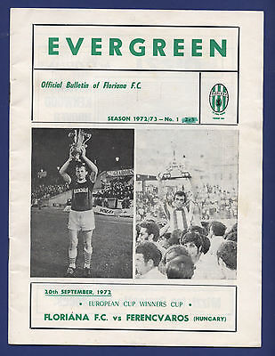 Orig.PRG   Cup Winners Cup  72/73   FLORIANA FC - FERENCVAROS BUDAPEST  !!  RARE