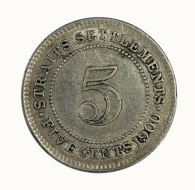 Straits Settlements 1900 5 Cent Coin gEF