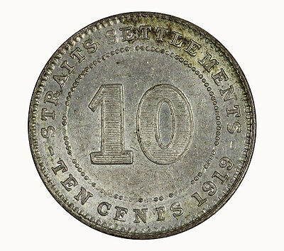 Straits Settlements 1919 10 Cent Coin UNC
