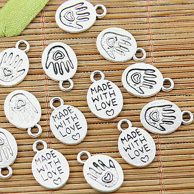 30pcs Tibetan silver made with love hand charm pendants EF1361