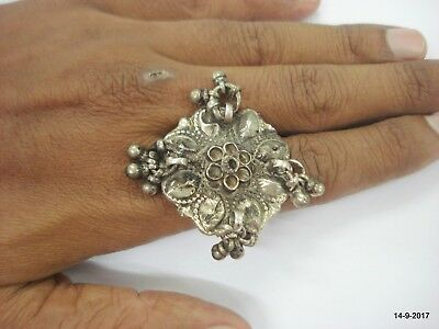 vintage antique collectible tribal old silver cocktail ring belly dance jewelry