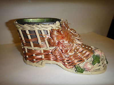 Vintage Barbola gesso Victorian FRENCH Roses antique SHOE PLANTER pincushion