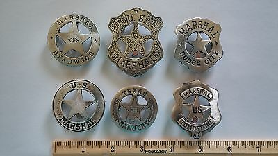 THE BADGE COLLECTION  6 BADGES  DEADWOOD, TOMBSTONE, DODGE CITY, TEXAS RANGER