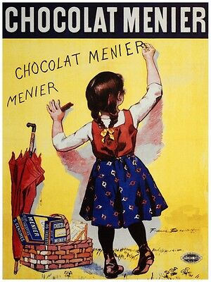 FRENCH CHOCOLAT MENIER GIRL WRITING AT STORE GLASS DOOR VINTAGE POSTER REPRO