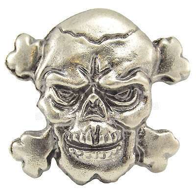 Toxic Skull Crossbones Metal Badge Studs Punk Gothic Leather Jacket Rockabilly
